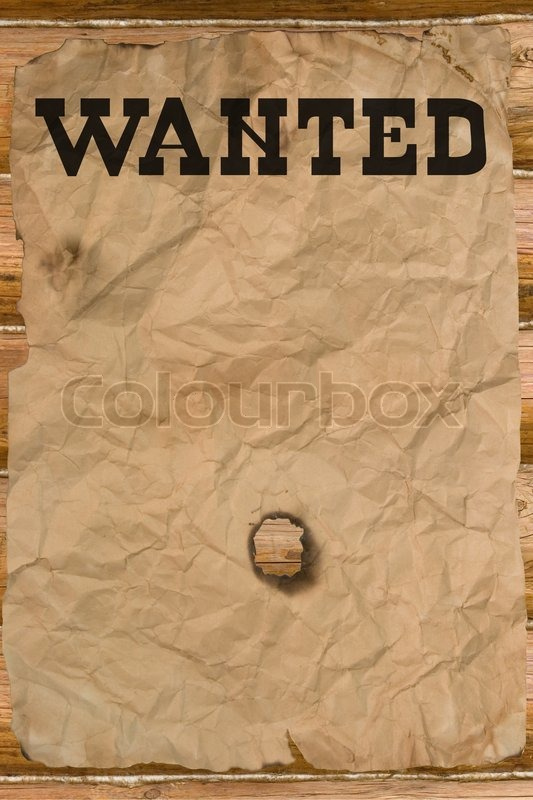 Wanted poster with a hole (vintage Wild West style) Stock Photo