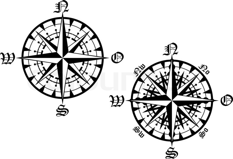 Vintage compass symbols isolated on Stock Vector Colourbox