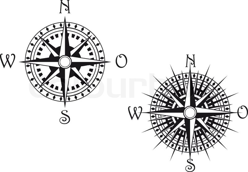 Vintage compass symbols isolated on white for design Stock Vector