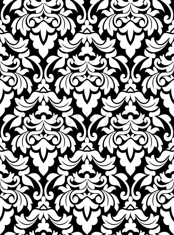 Damask seamless pattern for background design in white and black