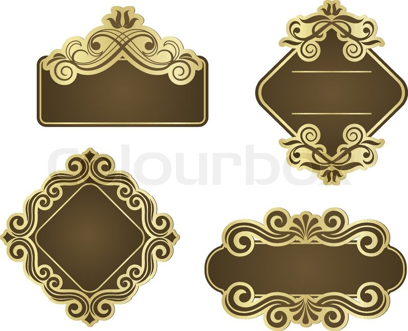 Set of retro frames for wedding templates Stock Vector Colourbox - wedding template
