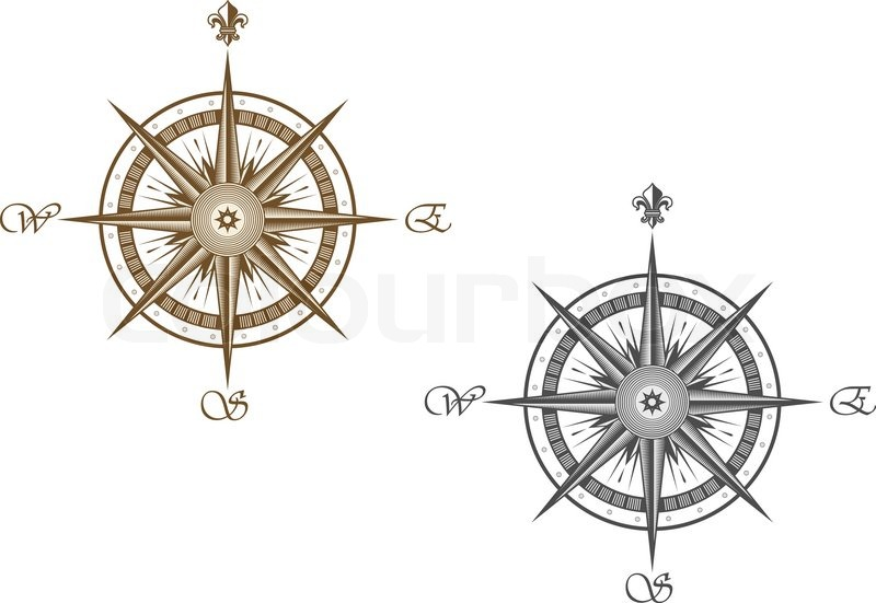 Medieval compass isolated on white background for travel design