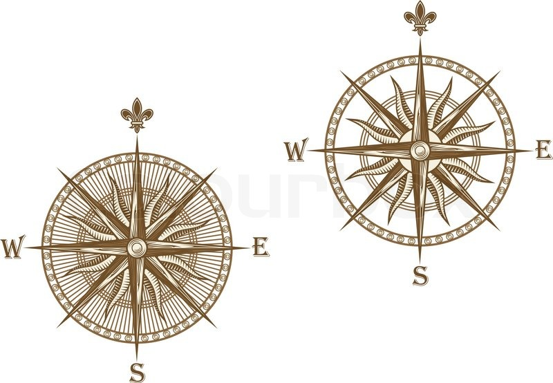 Ancient compass isolated on white background for travel design