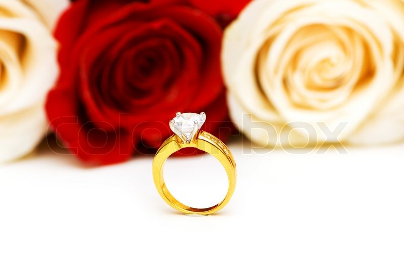 Married Couple Wallpaper With Quotes Engagement Ring And Roses At The Background Stock Photo