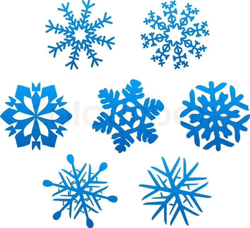 Set of snowflakes for design isolated on white Stock Vector