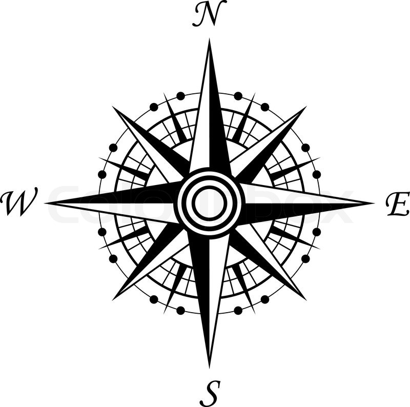 Compass symbol isolated on white for Stock Vector Colourbox