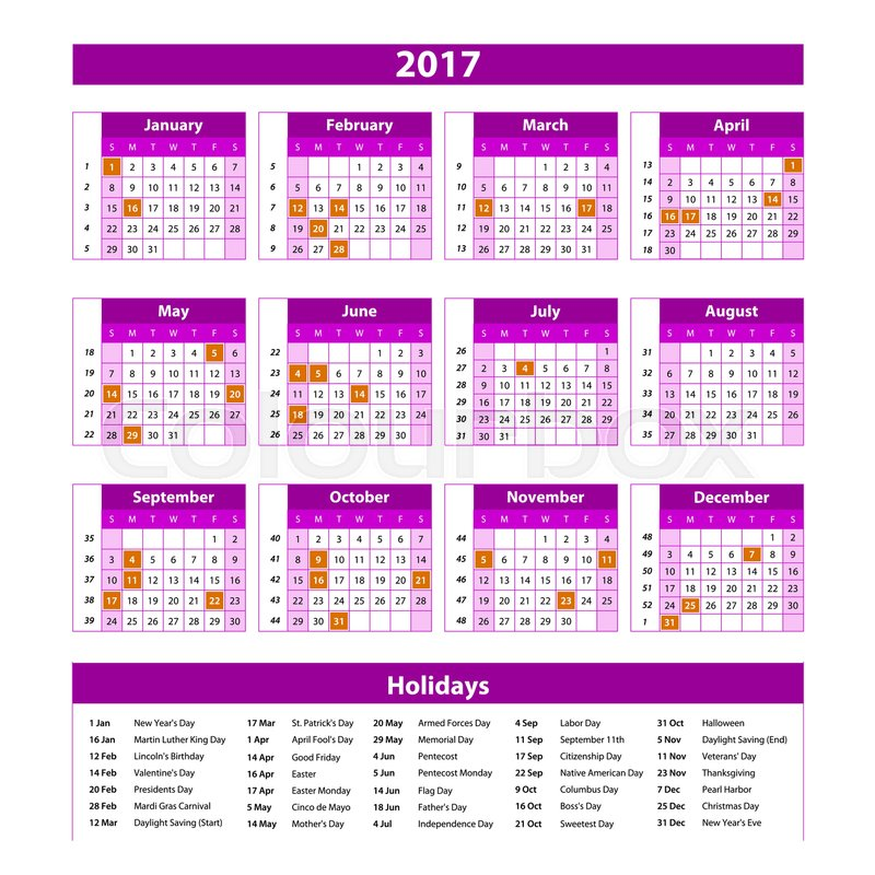 Year Planner Calendar 2017 - International worldwide printable