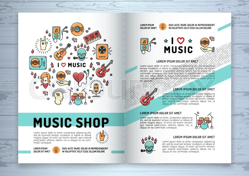 Music brochure template A4 size Music infographics, trendy icons - music brochure
