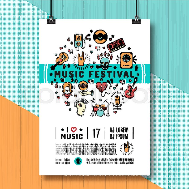 Music festival poster template A4 size Music infographics, trendy - poster on line