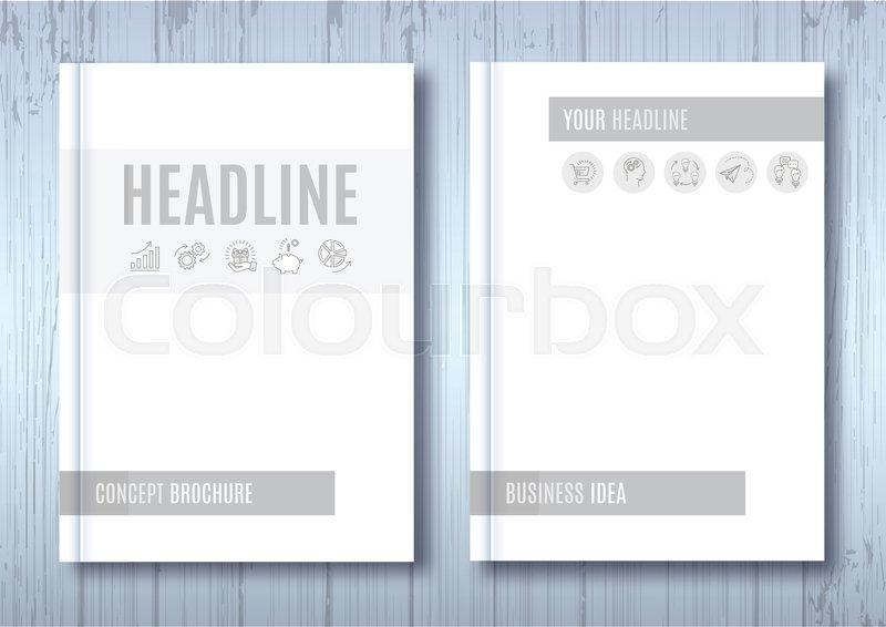 Brochure Mock-up, Blank magazine, Cover template notebook on wooden
