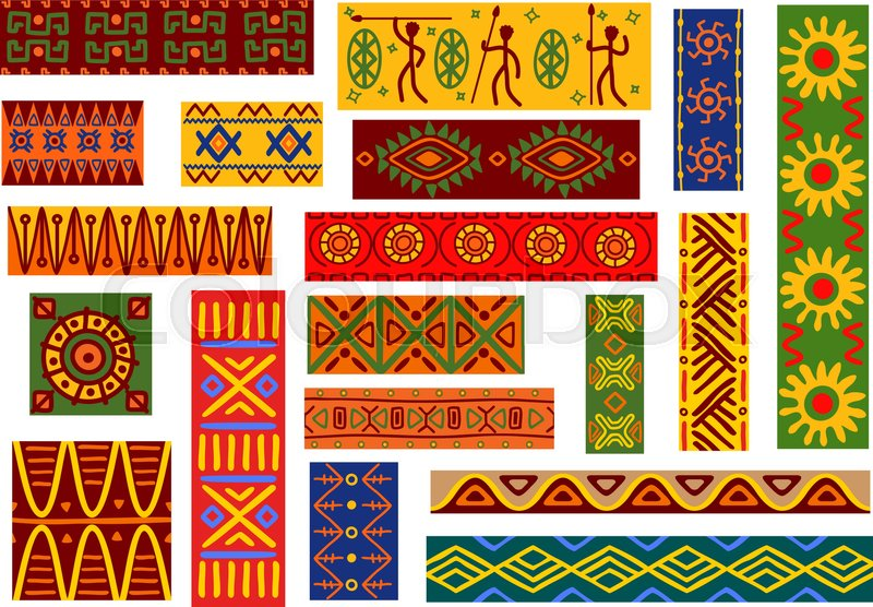 African Animal Wallpaper Border African Ethnic Ornaments With Tribal Stock Vector