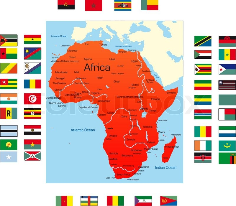 Abstract map of africa continent with Stock Vector Colourbox