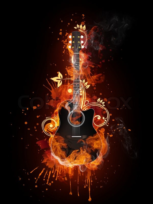Fantasy Girl Wallpaper Full Hd Acoustic Electric Guitar In Fire Flame Isolated On Black