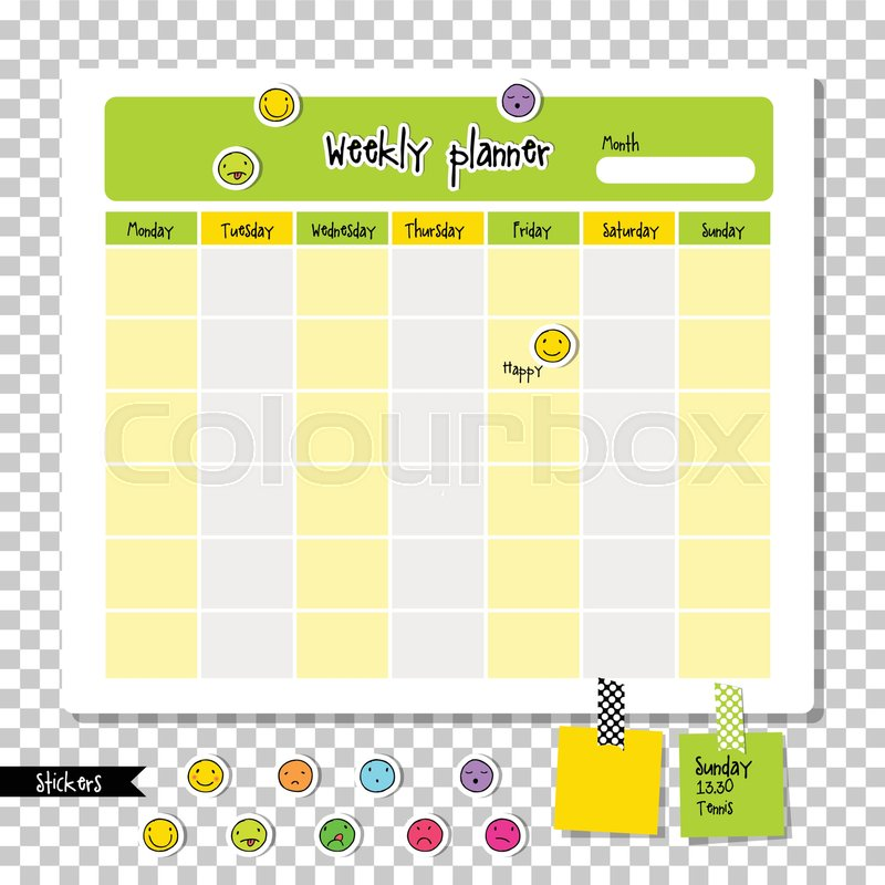 Weekly planner Note paper, Notes, to Stock Vector Colourbox