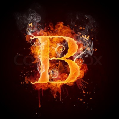 Fire Swirl Letter B Isolated on Black ... | Stock Photo | Colourbox