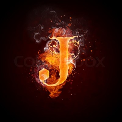 Fire Swirl Letter J Isolated on Black Background. Computer Design. | Stock Photo | Colourbox