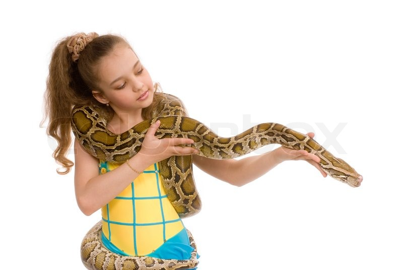 Sweet Little Girl Hd Wallpaper Close Up Of Adorable Young Girl Holding Pet Python On Her
