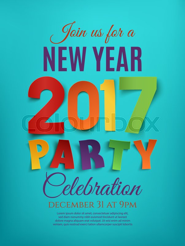 New Year 2017 party poster template on blue background Perfect for - new year poster template