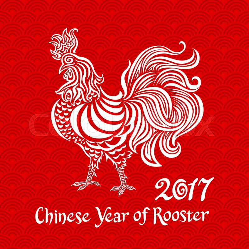 Vector white rooster on red chinese background Chinese calendar