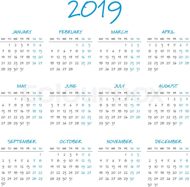 Simple 2019 year calendar, week starts on Monday Stock Vector