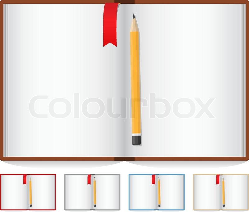 Vector opened book with pencil and bookmark Stock Vector Colourbox - opened book