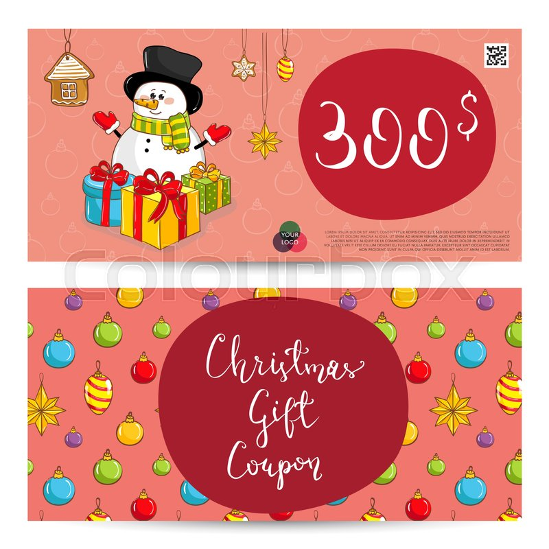 Christmas gift voucher template Gift coupon with Xmas attributes - christmas gift vouchers templates