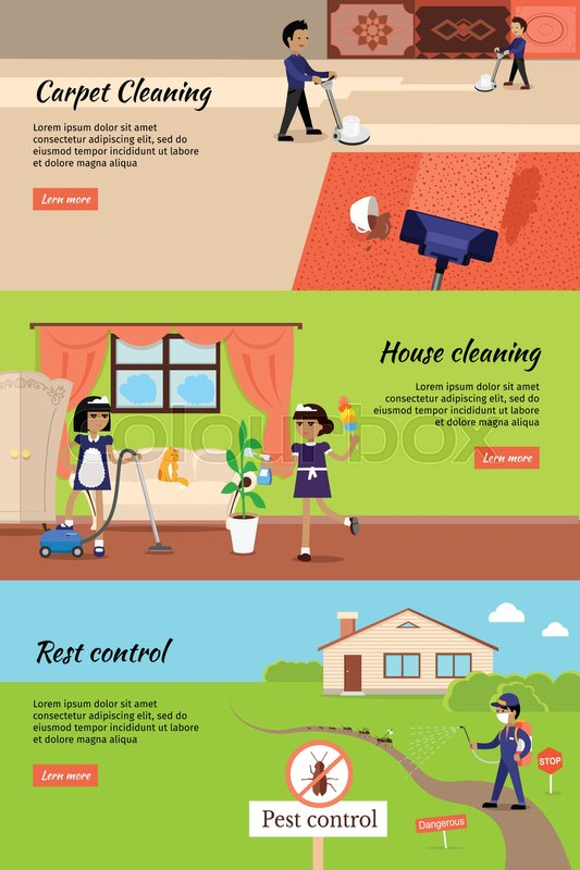 House cleaning, pest control, cleaning carpet banners Housework and