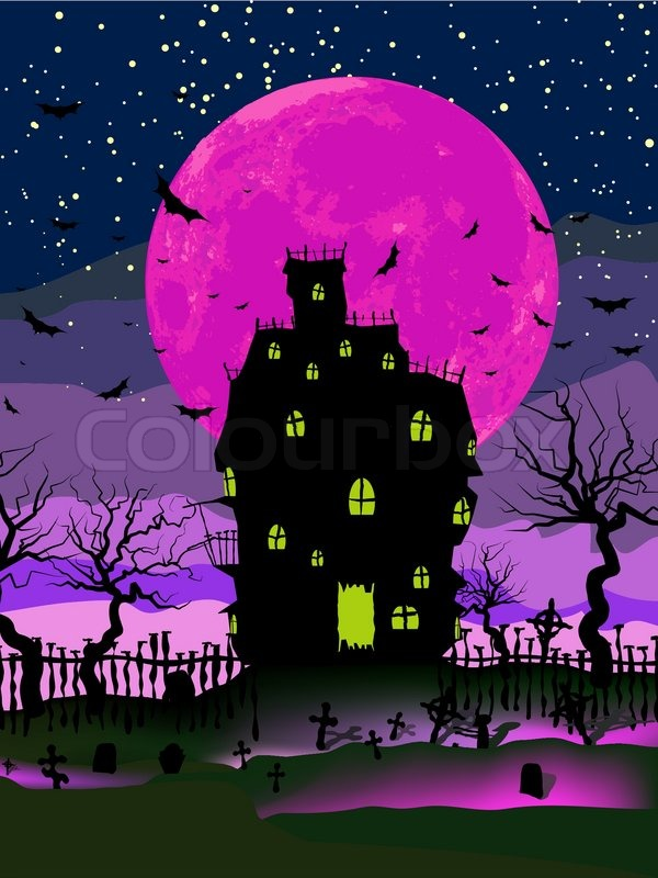 My Log Home 3d Live Wallpaper Grungy Halloween Background With Haunted House Bats And