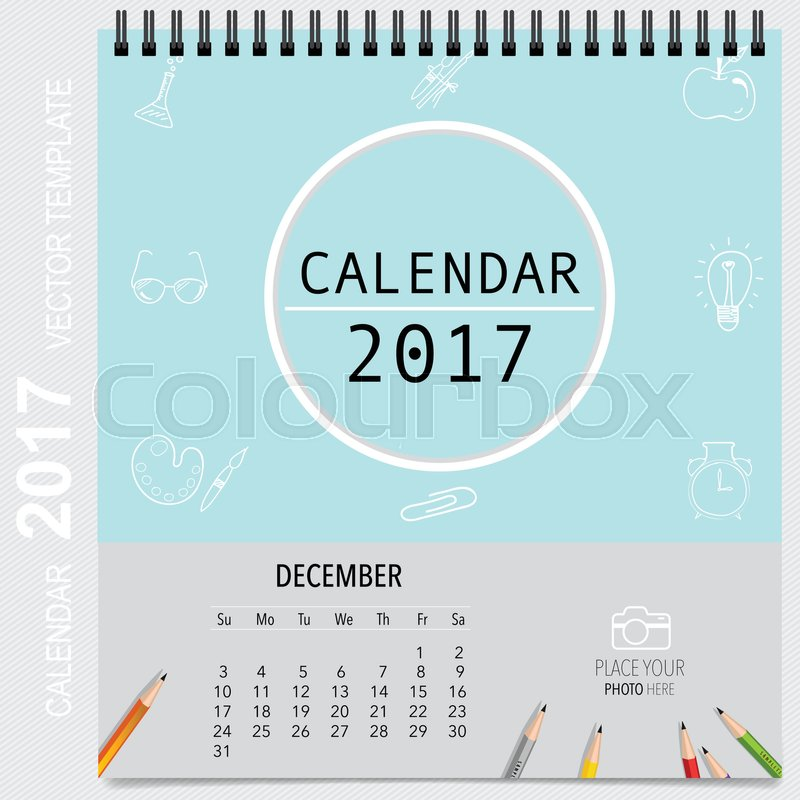 2017 Calendar planner vector design, monthly calendar template for - december monthly calender