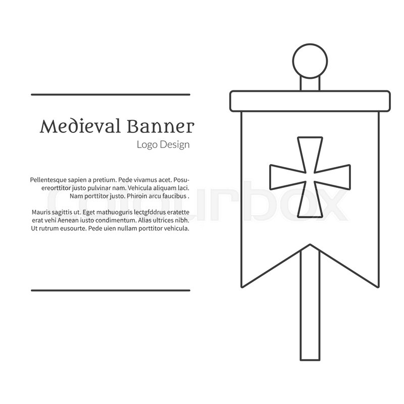 Medieval banner, knight flag Single logo in modern thin line style