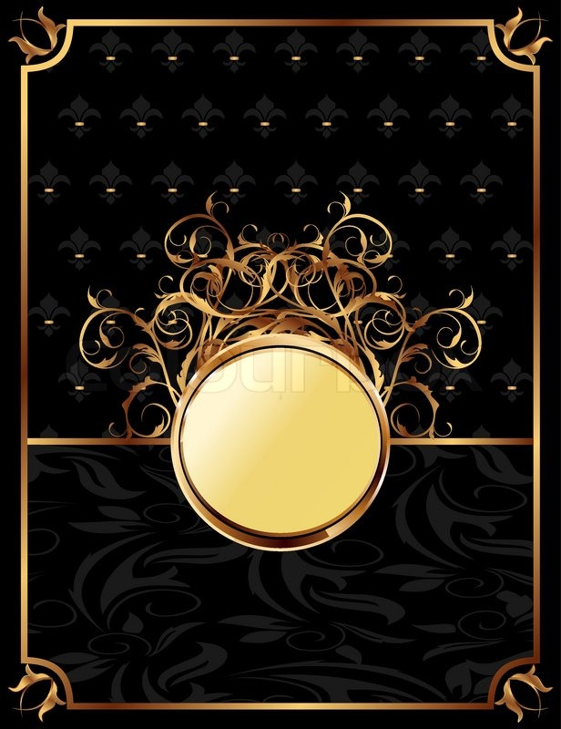 Victorian Wallpaper Black Illustration Gold Invitation Frame Or Stock Vector