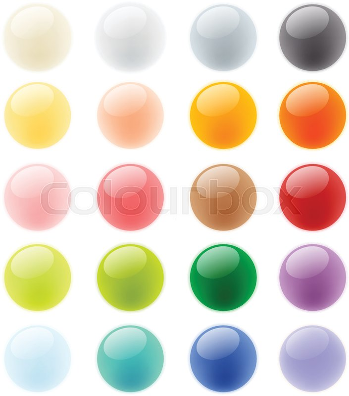 Collection set of glossy colorful button element, glass sphere