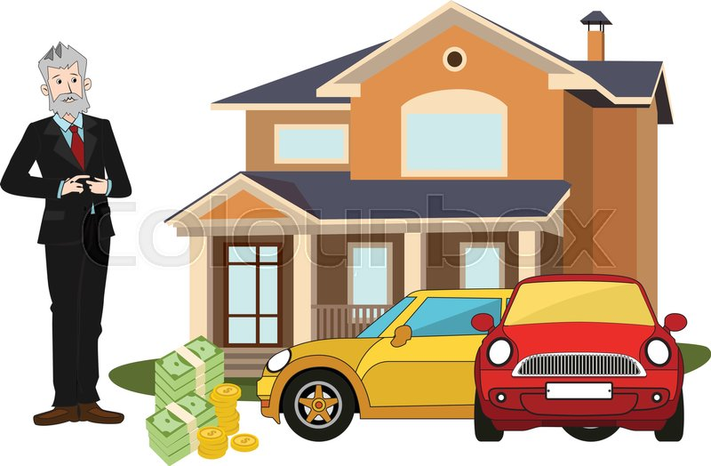 Rich Old Man With Big Cottage Cars Money Realistic
