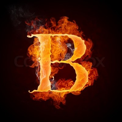Fire Letter B Isolated on Black Background | Stock Photo | Colourbox