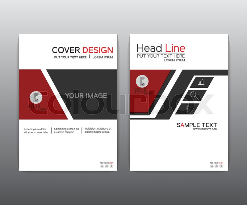 Brochure Red black elegant Vector annual report Leaflet Brochure - black flyer template