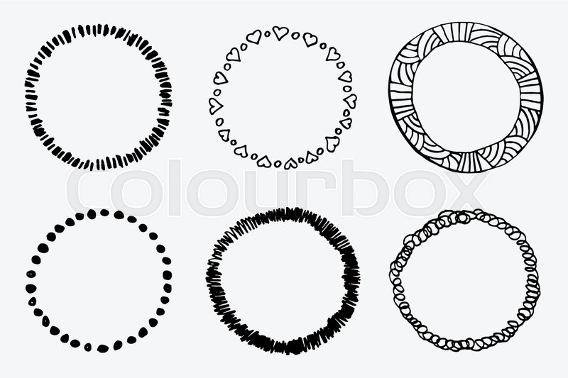 Simple hand drawn circle template Round doodle vector sketch - circle template