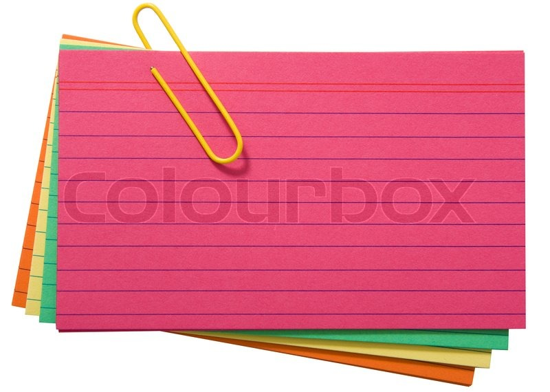 Different Colored Blank Index Cards Held With A Paper Clip Stock