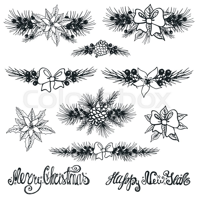 Merry Christmas and new year borders Stock Vector Colourbox