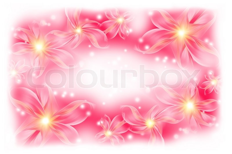 Beautiful pink background with flowers Stock Photo Colourbox