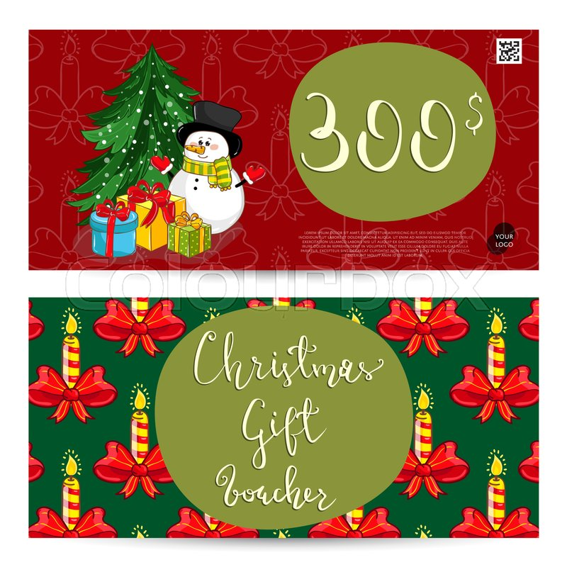 Christmas gift voucher template Gift Stock Vector Colourbox