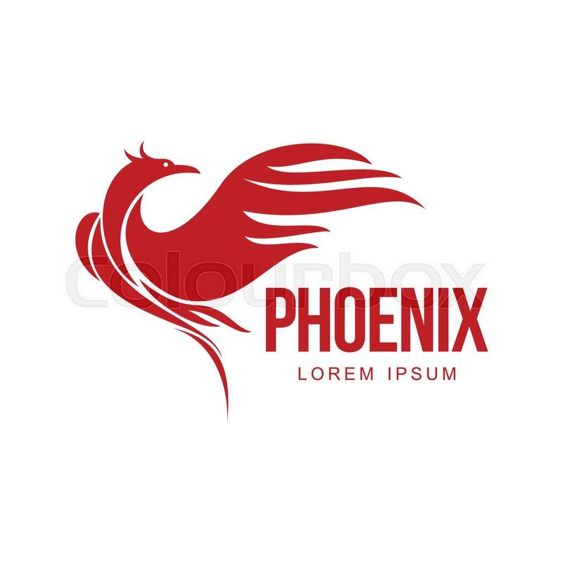 Stylized graphic phoenix bird resurrecting in flame logo template - flame logo