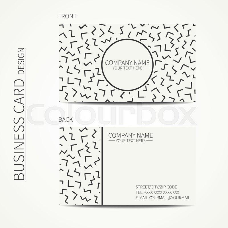 Vector simple business card design Memphis style Template Black - simple business