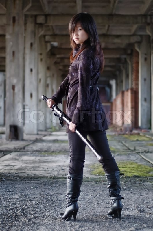 Beautiful Wallpapers Of Lonely Girl Dangerous Asian Girl With Katana In Ruins Stock Photo