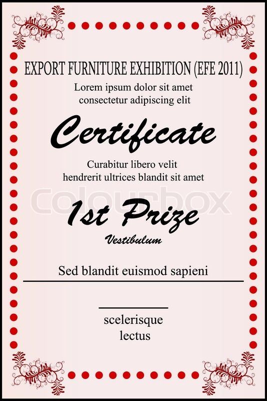 Illustration of sample certificate on white background Stock - first place award template