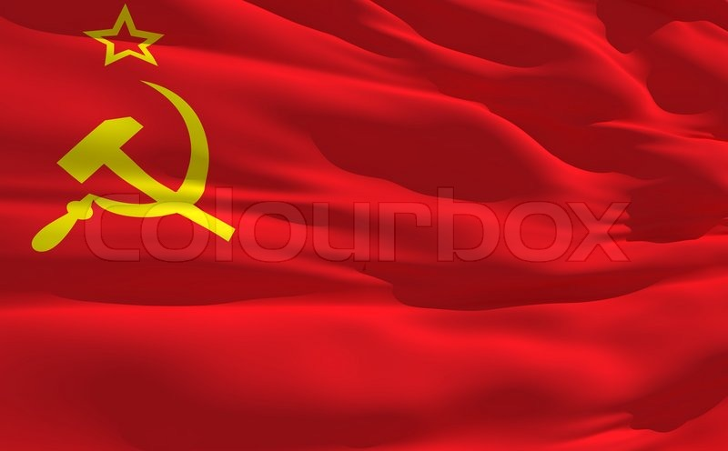 3d Colour Wallpaper Fluttering Flag Of Soviet Union On The Wind Stock Photo