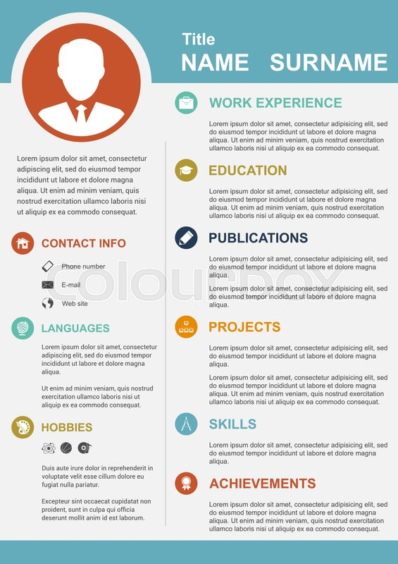 Infographic template with icons for cv, personal profile, resume
