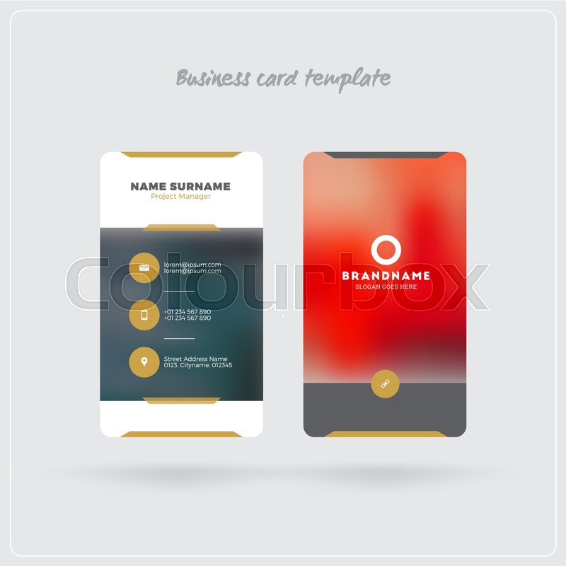 Golden and Gray Vertical Business Card Stock Vector Colourbox