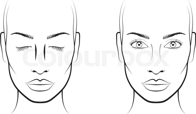 Young Woman Portrait Face Chart Stock Vector