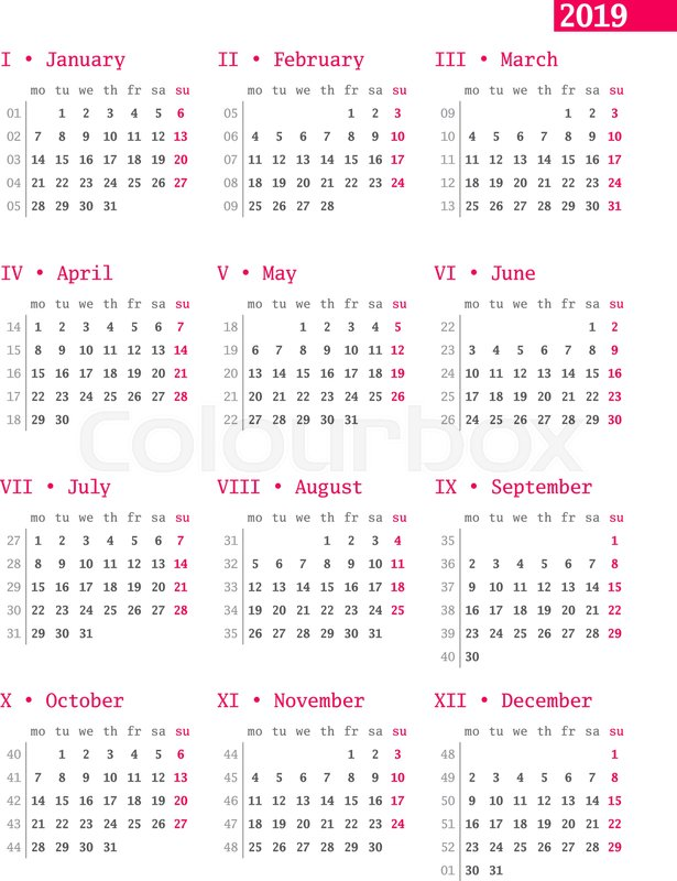 Calendar for 2019 year with week numbers on white background Vector