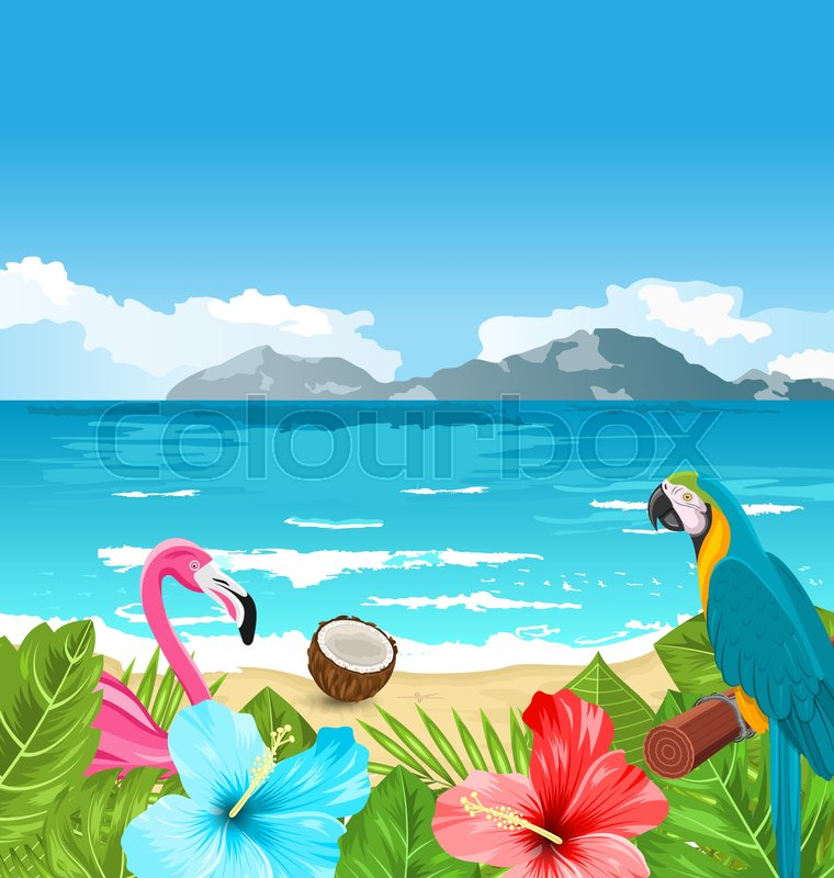 Hawaii Desktop Wallpaper Hd Illustration Exotic Wallpaper With Parrot Ara Pink